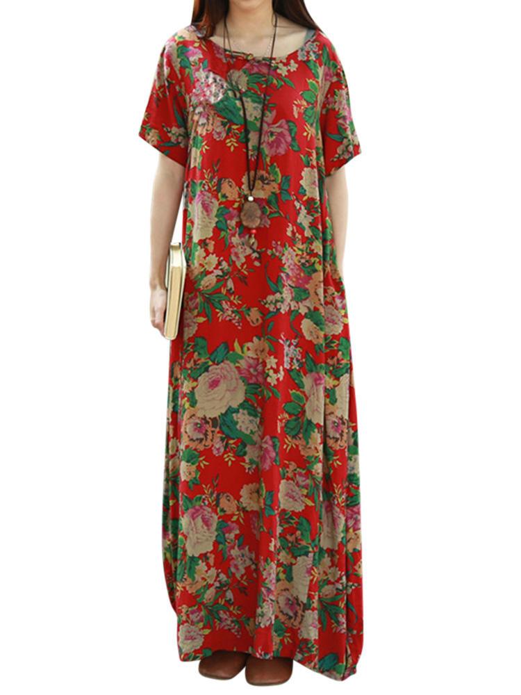 d10e0c0cb098b3 bloemen gedrukt korte mouw o-hals maxi jurken bij Banggood