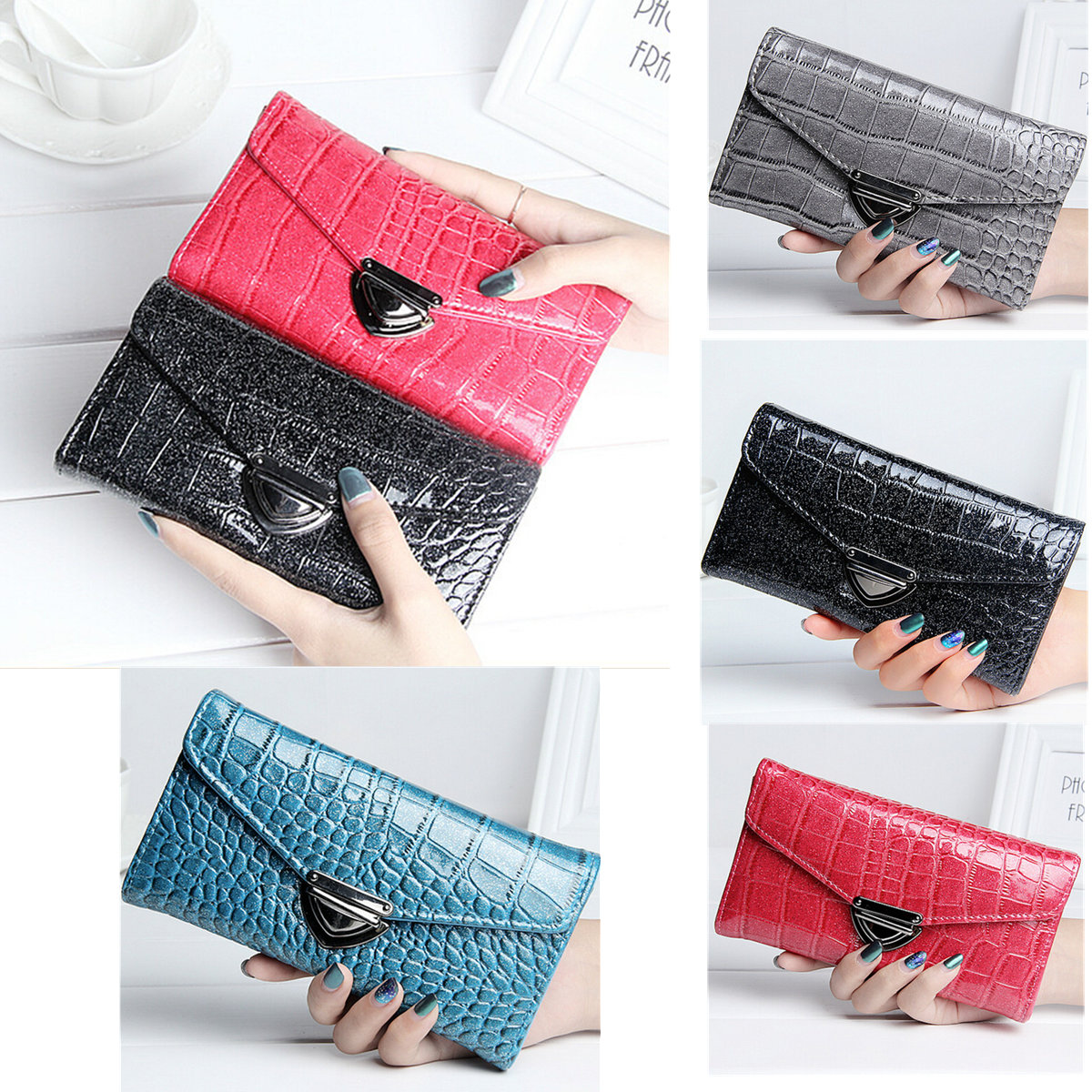 Crocodile PU Leather Long Wallet Card Holder Purse Phone Bag for under 5.5 inches Smartphone