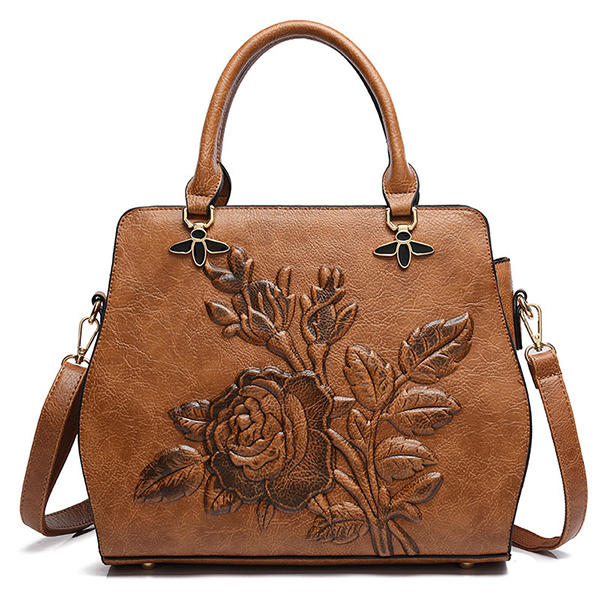 Women Rose Embroidery Handbag Elegant Tote Bag Crossbody Bag