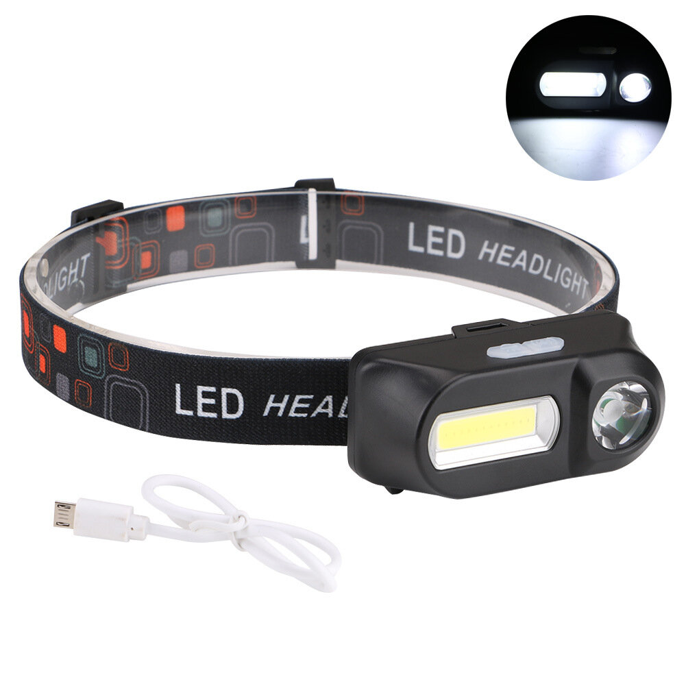 XANES 700LM XPE+COB LED HeadLamp USB Interface Waterproof Outdoor Camping Hiking Cycling Fishing Light