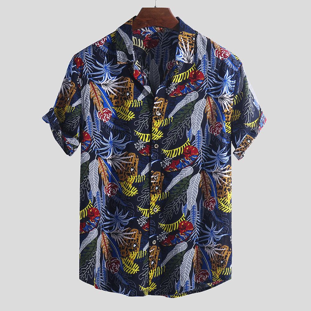 Hombres hawaianos Colorful Hoja Camisas sueltas de manga corta con cuello caído estampado
