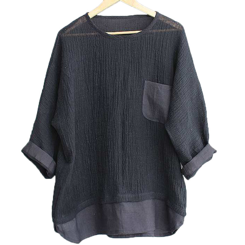Mens Casual Loose Solid Color Crew Neck T-shirts Tops