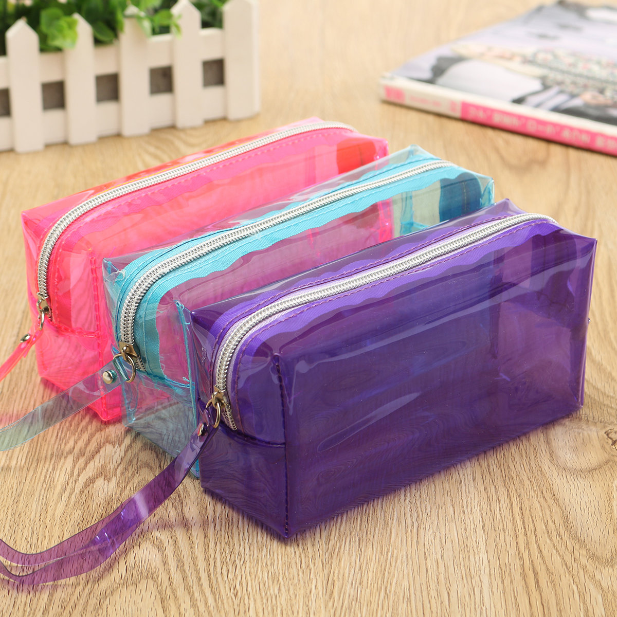 Clear cosmetic bag with zipper 67