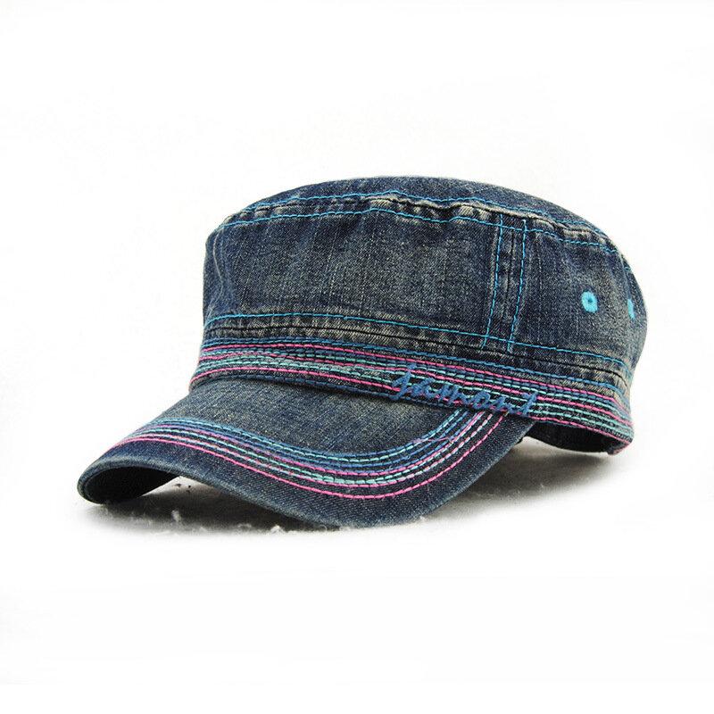 Hommes Femmes Vintage Cadet Solid Cotton Broderie Plain Flat Peaked Caps Military Hat