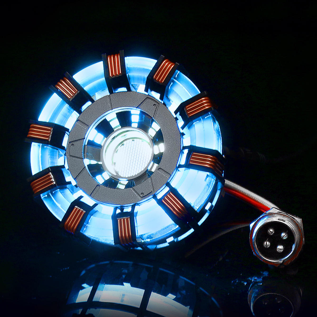 MK2 Tony DIY Arc Reactor Lámpara Kit de iluminador de acero inoxidable LED Flash Juego de luces