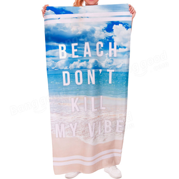 70x140cm Polyester Fiber English Words Pattern Beach Spa