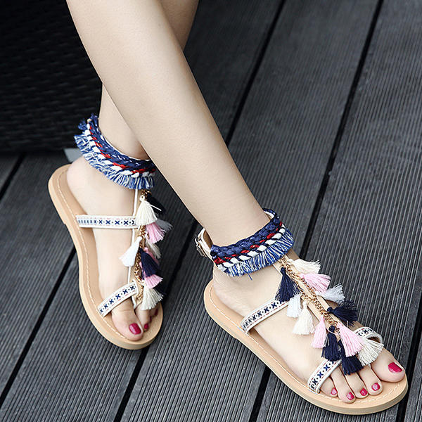 c31016609aa6a Embroidery Bohemian Women Shoe Summer Casual Beach Tassel Flat Sandals COD