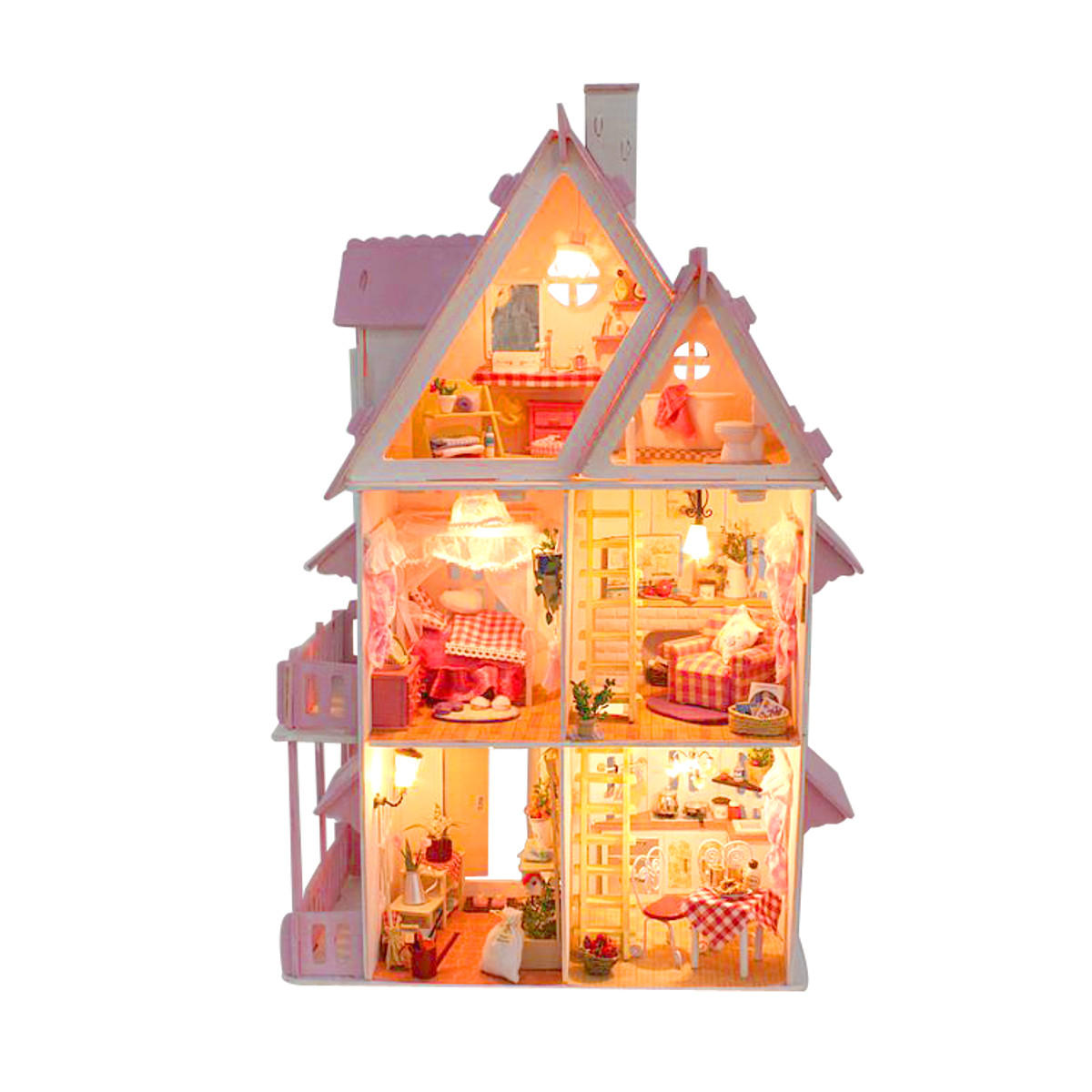 Fine Large Wooden Kids Doll House Barbie Kit Girls Play Dollhouse Mansion Wiring Digital Resources Millslowmaporg