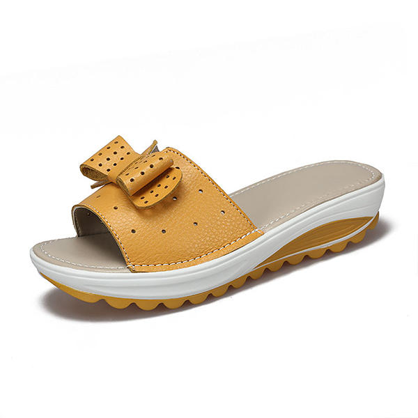 dacf16aaa US Size 5-11 Butterfly Knot Leather Breathable Platform Wedges Slippers COD