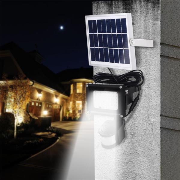 54 LEDソーラーパワードモーションセンサー洪水ライトリモートコントロール防水セキュリティ屋外の壁ランプ
