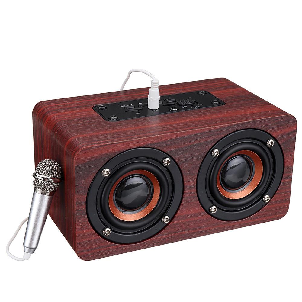 Bassi stereo in legno Bluetooth 4.2 Altoparlante Audio Music Scatola con Mini Microfono