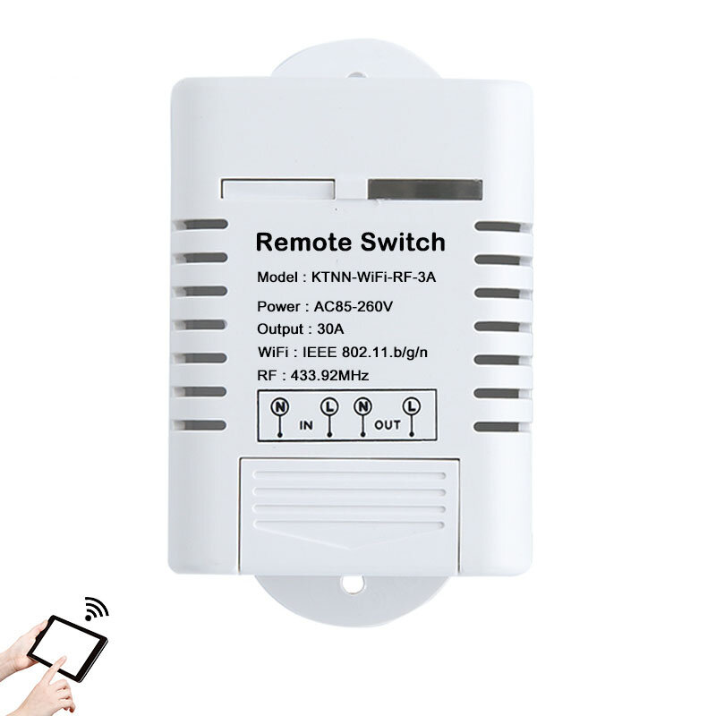 KTNNKG AC85-260V 30A 3000W High Power WIFI Relay Switch 433MHz Receiver Smart Home Gadgets Wireless Remote Control Switch APP Control Work With Alexa Google Home