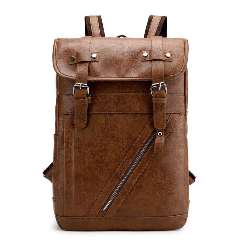 Sac à bandoulière en cuir synthétique de grande capacité pour le sac à dos scolaire pour hommes