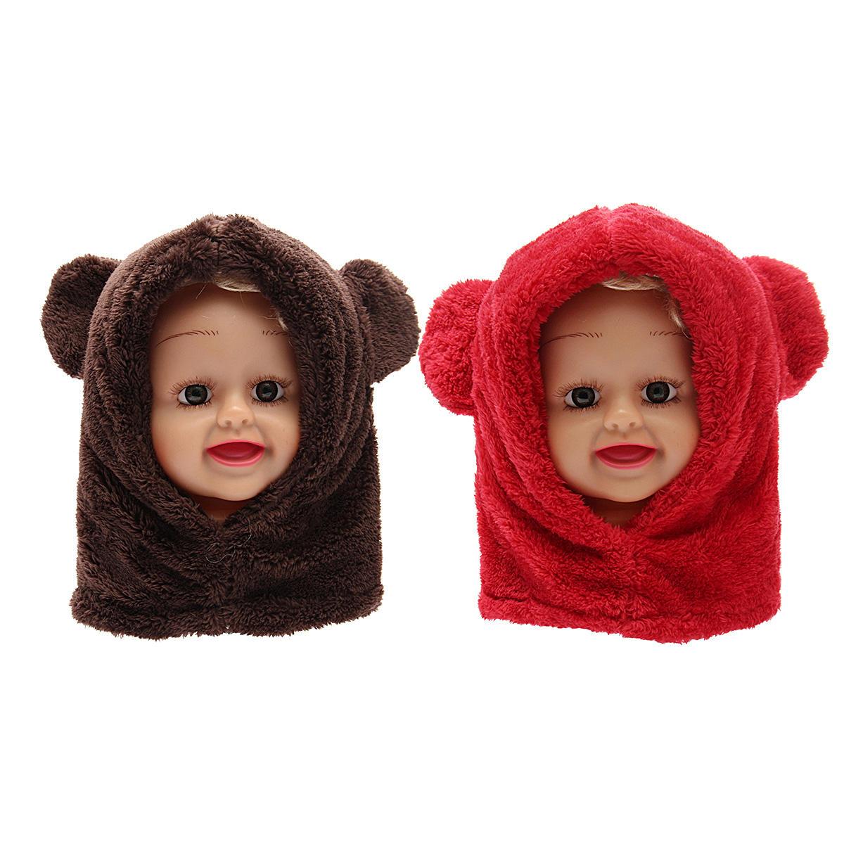 45a74b01fa9 Toddler Boy Girl Baby Kids Cute Warm Winter Fluffy Bear Hat Hood Scarf Cap  COD