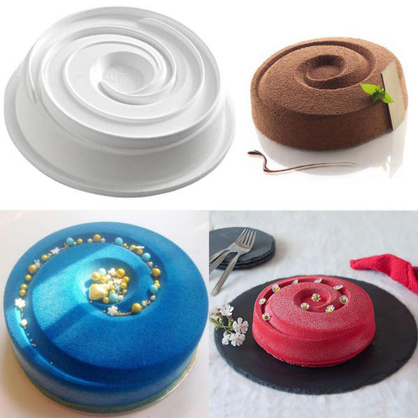 silicone round vortex spiral mold cake decorating pans baking and