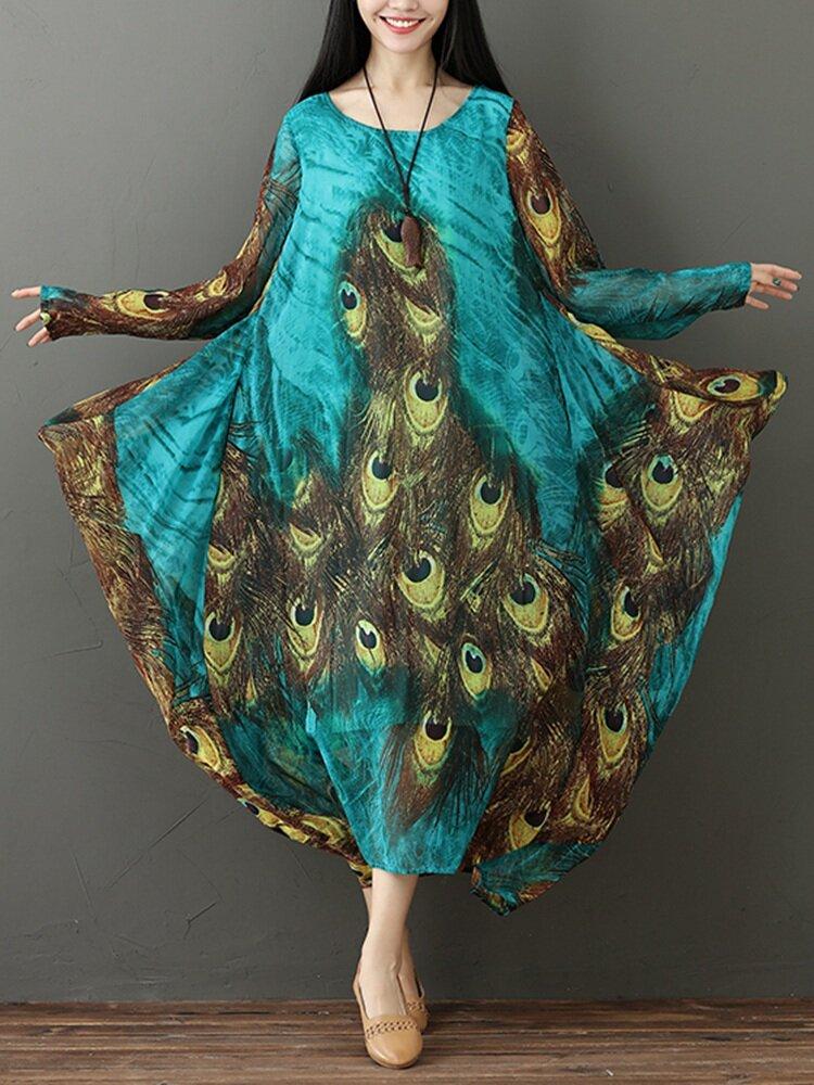 da2eb565377 M-5XL Vintage Women Peacock Feather Print Long Sleeve Dress COD