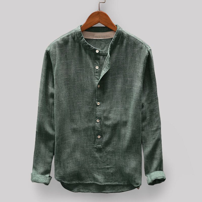 217bb997df1e8e Men s Vintage Loose Comfy Solid Color Button Fly Stand Collar Long Sleeve  Casual T-shirts COD