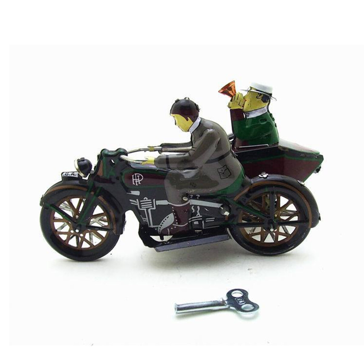 Motorcycle With Passenger In Sidecar Retro Clockwork Wind Up Tin Toys With Box