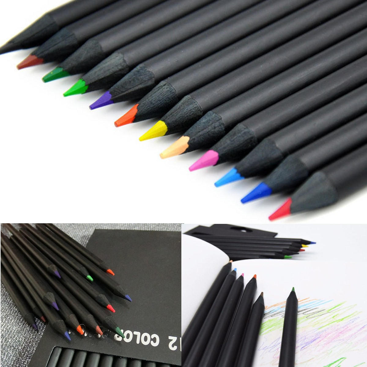 12 colors wooden drawing charcoal pencils black soft painting sketch fine art pencil cod