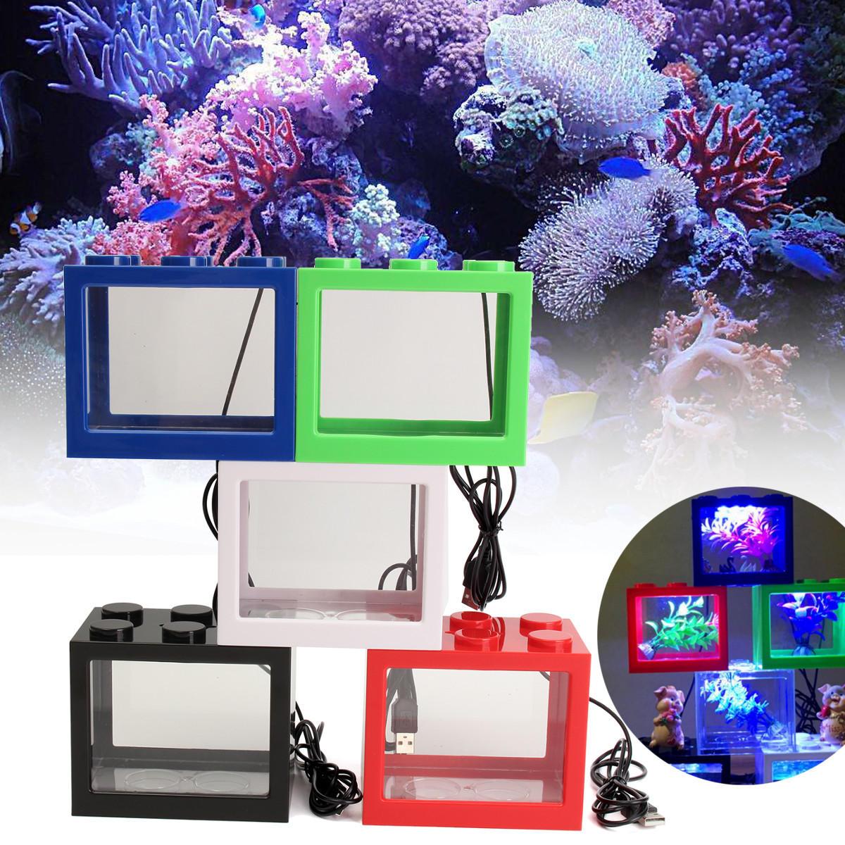 มินิ USB ไฟ LED ถังเก็บปลาล้างมินิ พิพิธภัณฑ์สัตว์น้ำ กล่องประดับ Bettas เดสก์ท็อปสำนักงาน