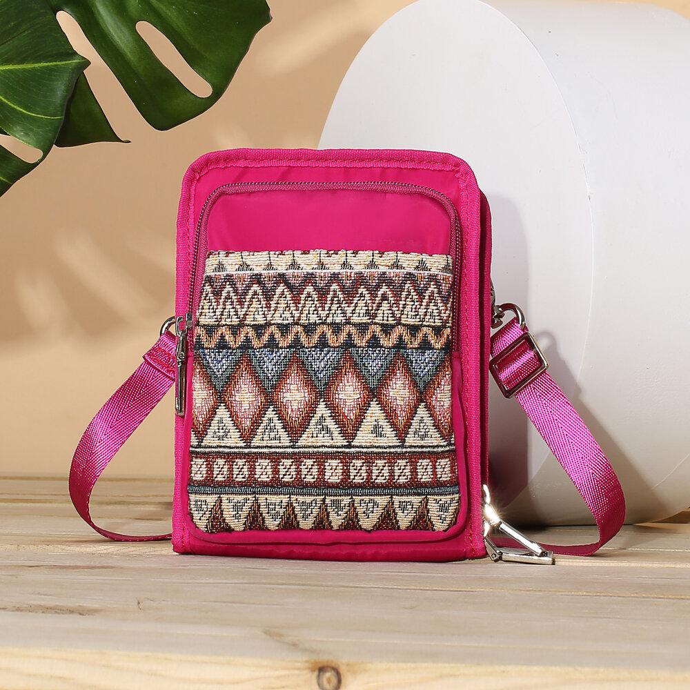 Brenice Women National Canvas Shoulder Bag Bohemian Card Holder Mini Sling Bag Crossbody Bag