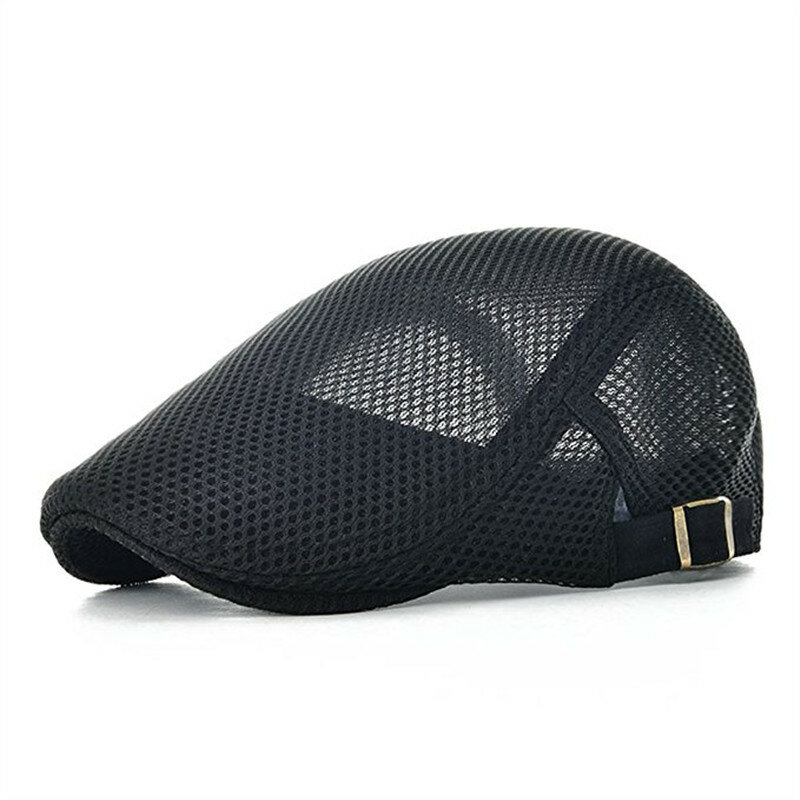 c9569e08df8 Men Leisure Mesh Breathable Beret Hat Outdoor Sport Solid Newsboy Cabbie Flat  Cap Visor COD