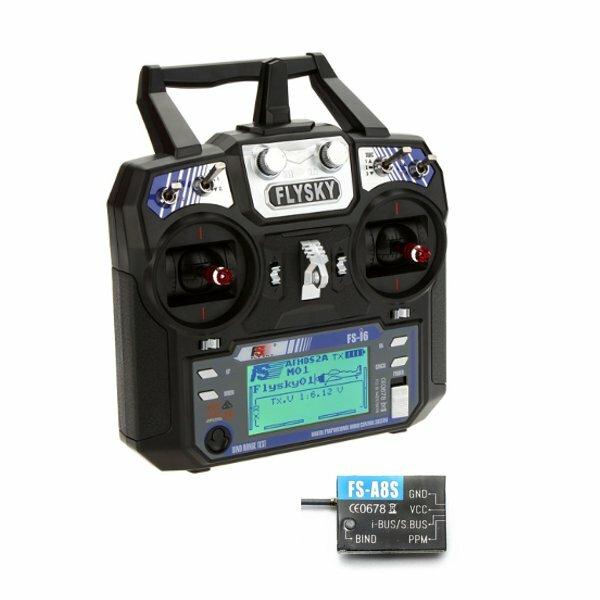 FlySky i6 FS-i6 2.4G 6CH AFHDS RC Transmitter Mode 2 พร้อม FS A8S 8CH Mini ตัวรับ