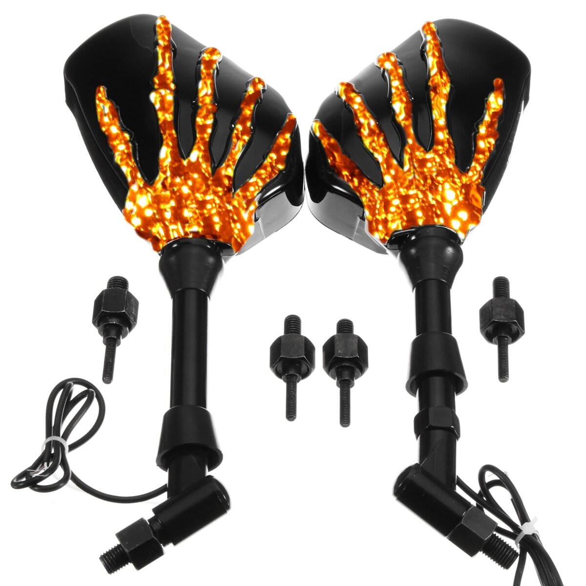 8mm 10mm Pair Skull Hand Led Turn Signal Motorcycle Mirrors For Tail Light Trouble Help With Wires Page 2 Harley Cruiser