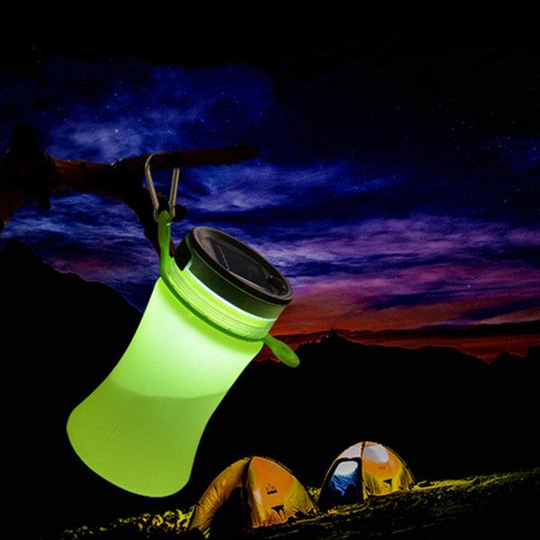 550ml 접을 수있는 실리콘 방수 스포츠 물 병 태양 에너지 충전 LED 캠핑 Latern