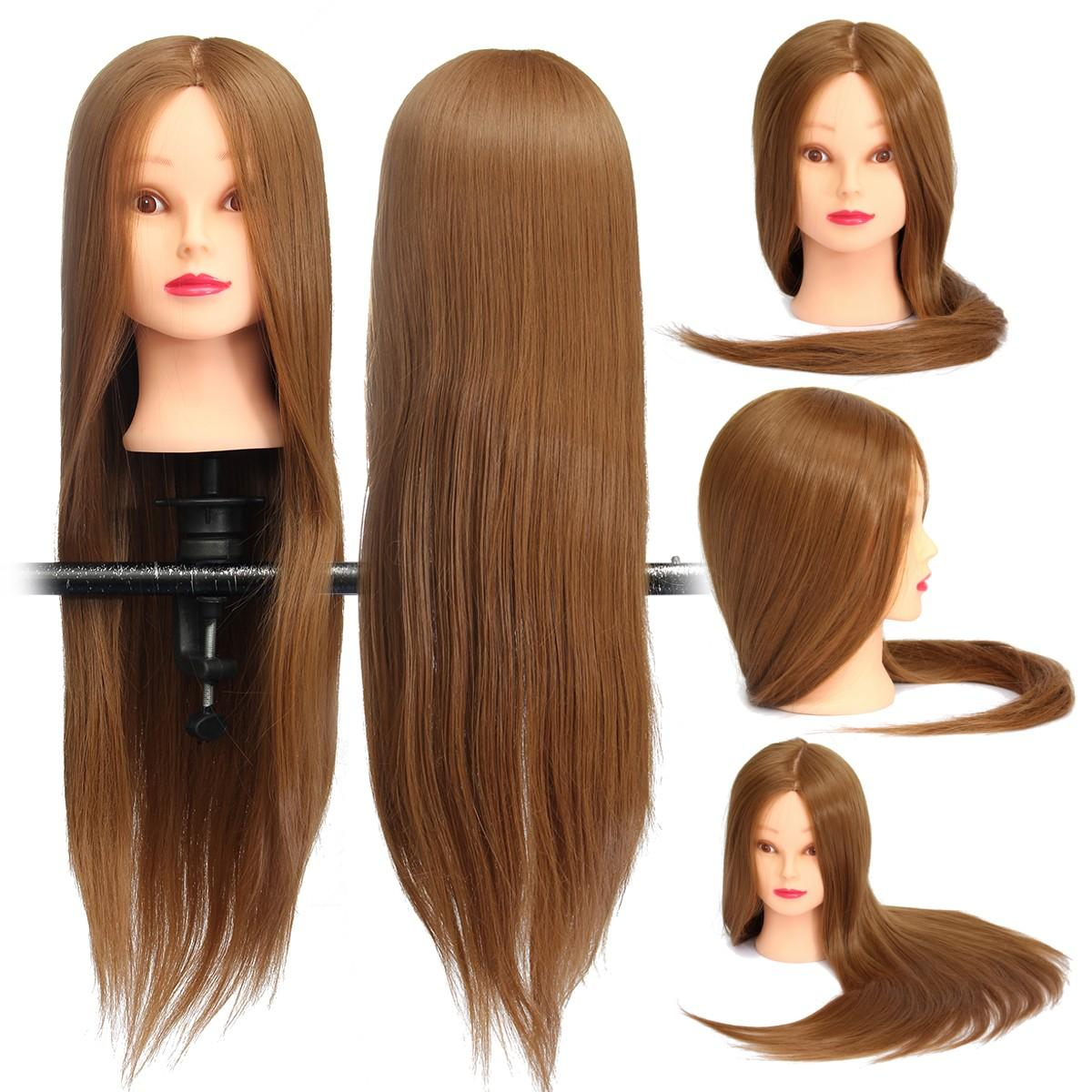 Brown 18 Inch Long Straight Hair Training Model Mannequin Practice Head Salon Cutting