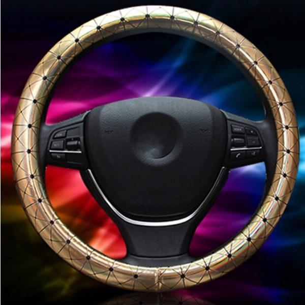 Universal 38cm Car Leather Car Steel Ring Wheel Cover All Seasons