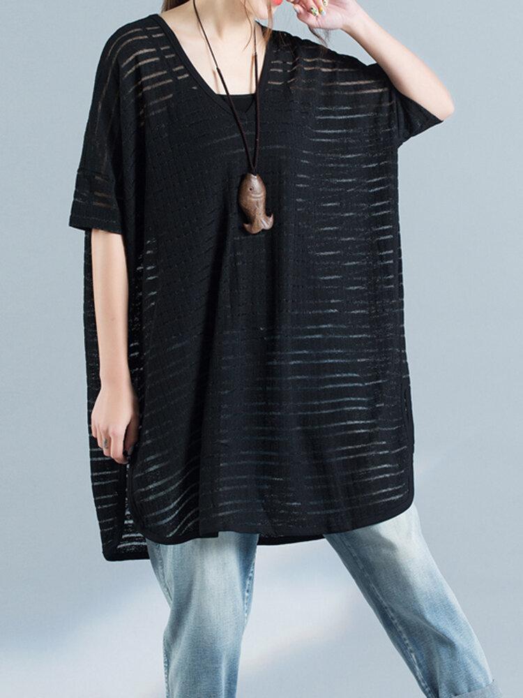 Loose Casual Women Pure Color T-shirts à manches longues à manches longues à manches longues