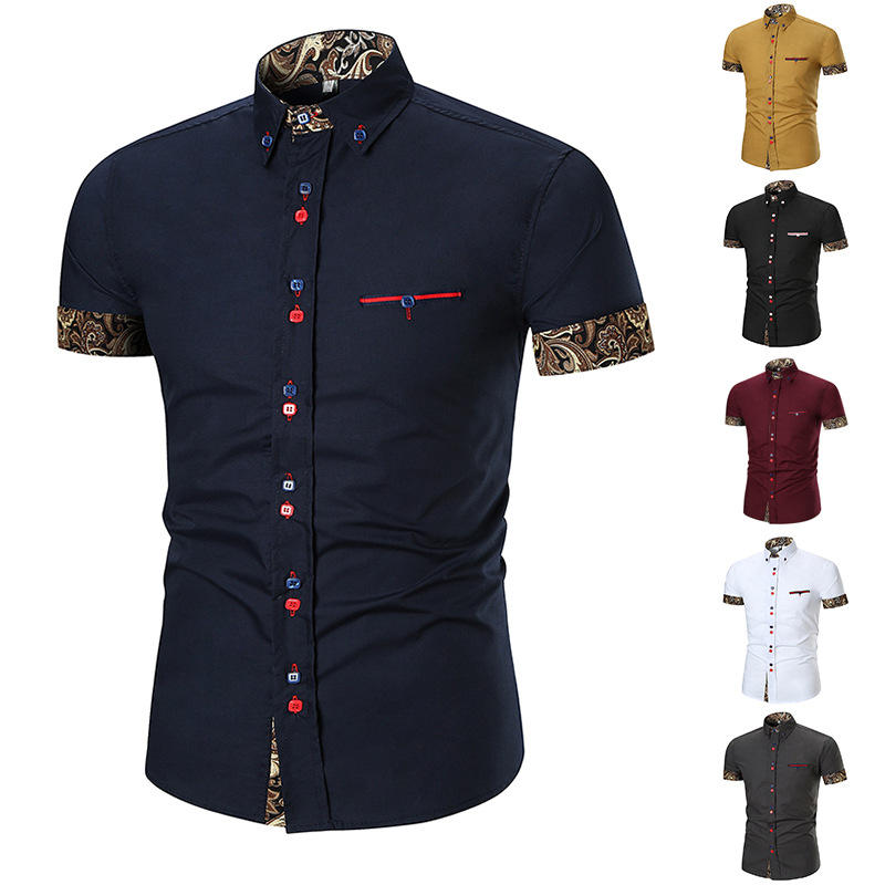 Man Casual Printing Splice Slim Button Stitching Color Designer Shirts