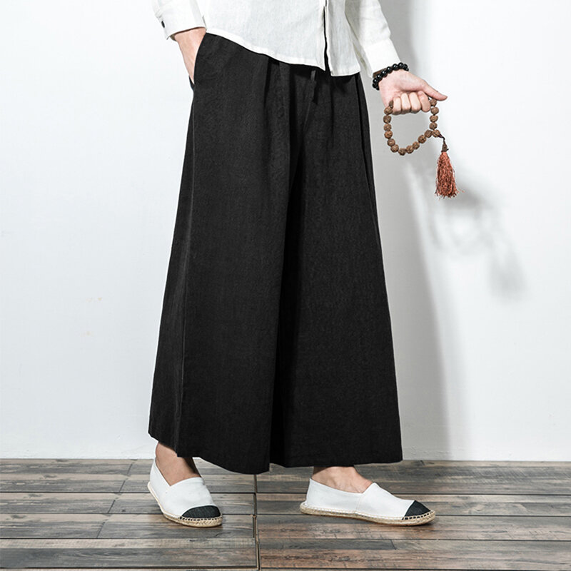 Mens Cotton Casual Loose Comfy Breathable Solid Color Baggy Wide Leg Pants