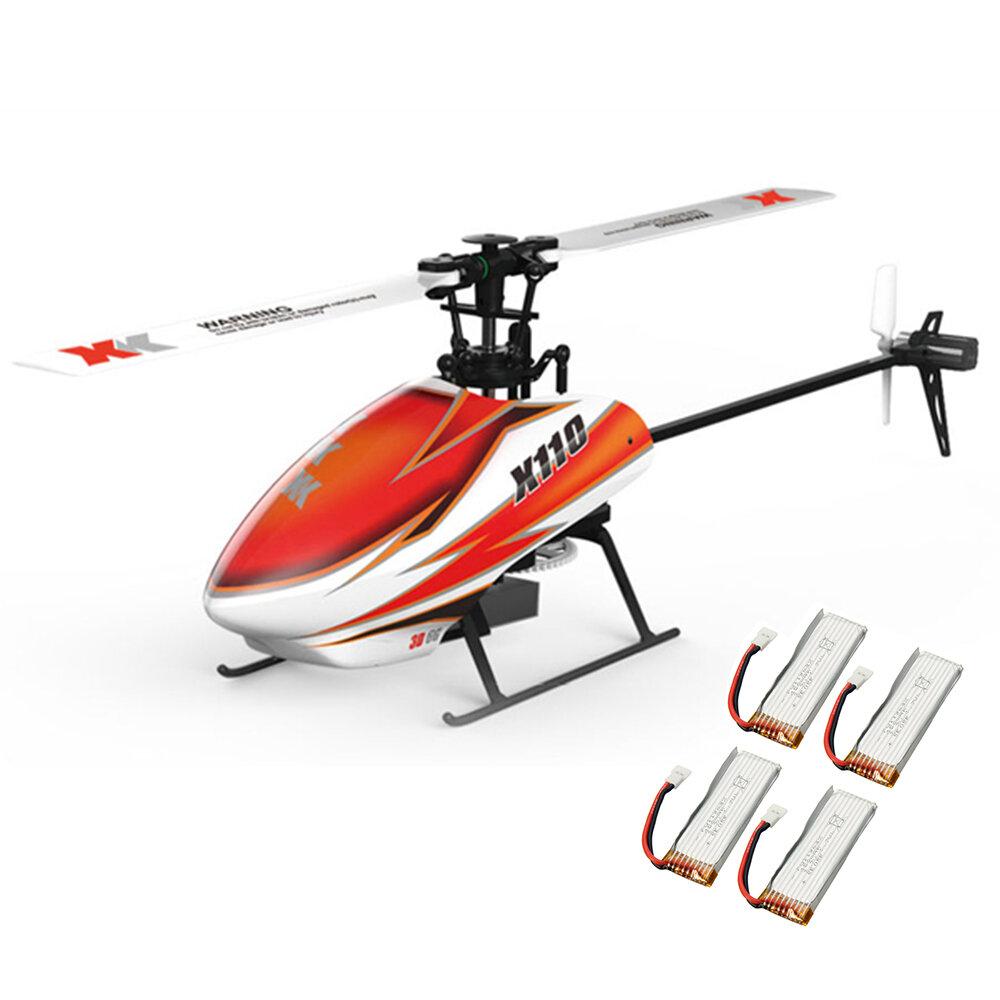 XK K110 Blast 6CH Sin escobillas Sistema 3D6G RC Helicóptero BNF con 4 piezas Batería