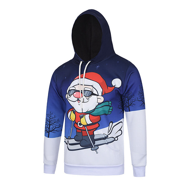 Men's Christmas Themed Santa Skiing Pattern Hooded Sweater Polyester Crease Resistant Pullovers