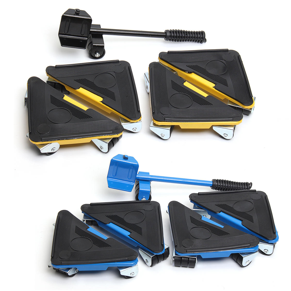5pcs Furniture Lifter Moves Triple Wheels Mover Sliders Tools Kit Moving System Cod