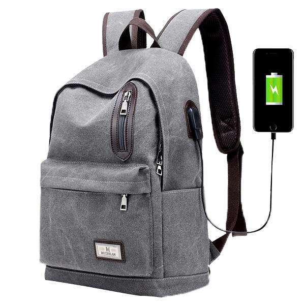 ebcfcc09e31b1 Men Fashion Backpack Canvas Casual Light Weight Mochila with External USB  Charging Port COD