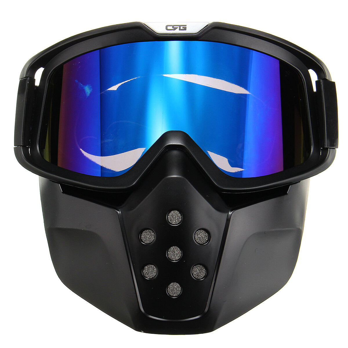 194f3903 Detachable Modular Face Mask Shield Goggles Blue Lens For Motorcycle Helmet  Riding COD