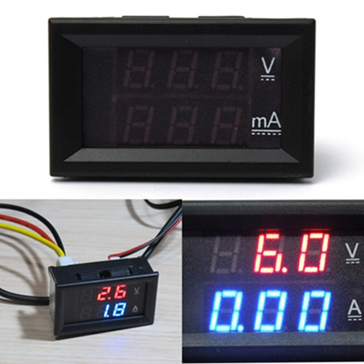 0.28 Inch Dual Display Red Blue LED Panel Voltmeter 4.5-30V Digital Volt Meter Ammeter 1-100A