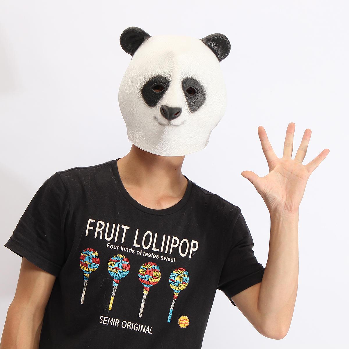 Панда маски голова жуткое животное Хеллоуин костюм театр игрушки проп латекса партия