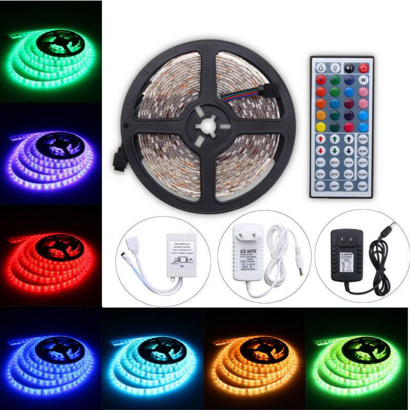 5M 60W RGB SMD5050 impermeable 300 LED Luz de Tira + 44 Teclas de Control Remoto12V 2A Kit Completo de Adaptador de Potencia