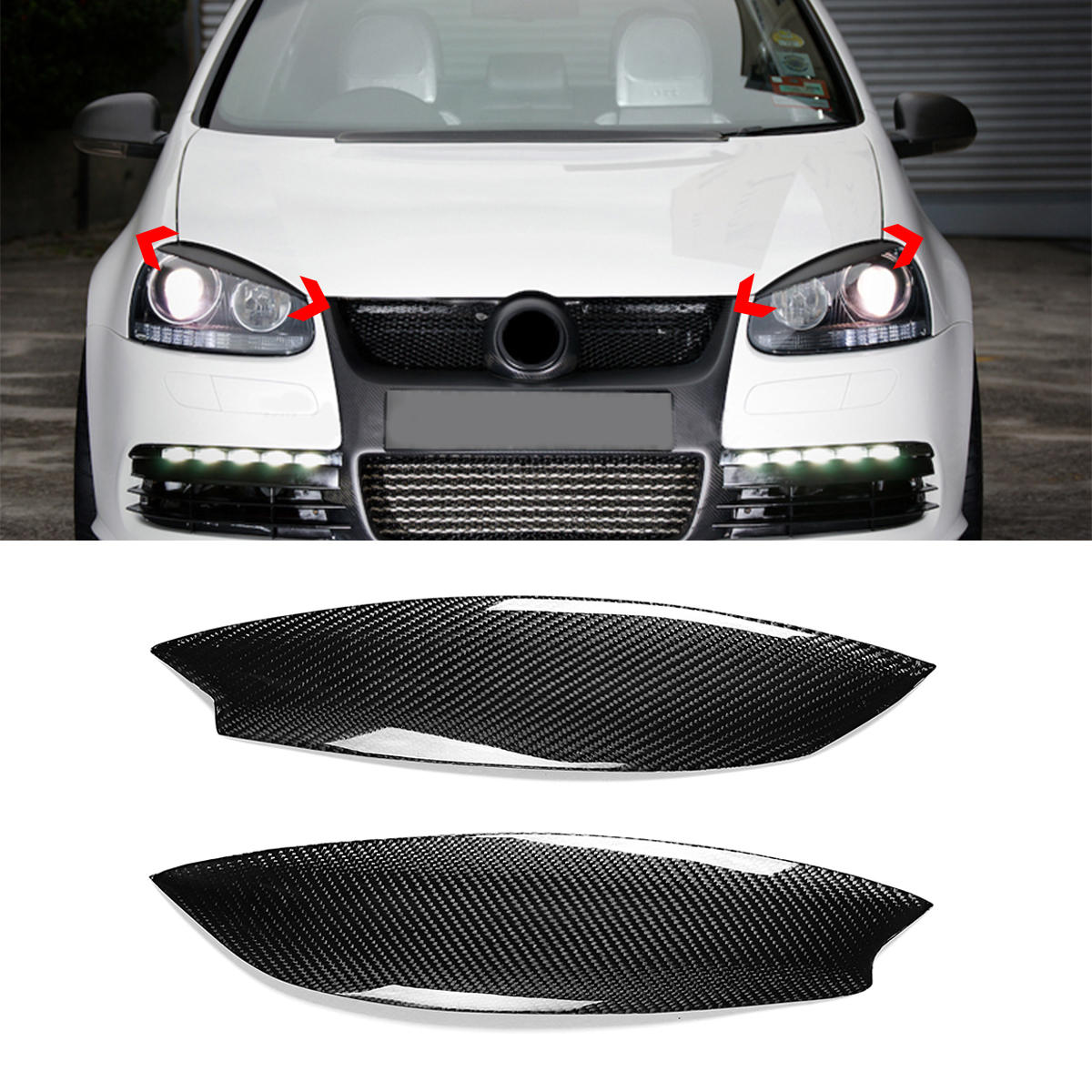Pair Car Carbon Fiber Headlight Eyebrow Eyelid Abs Trim Cover For Vw Golf Gti R Mk5 05 07 Cod