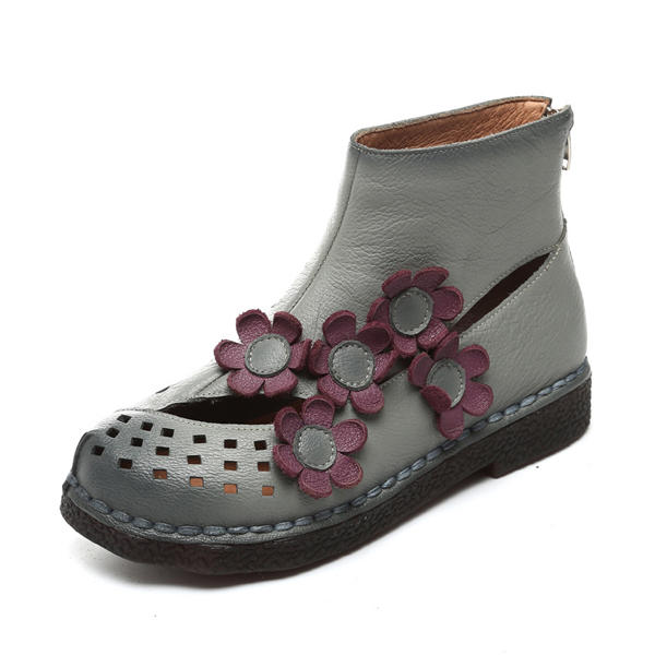 SOCOFY Genuine Leather Flower Breathable Hollow Out Flat Retro Boots