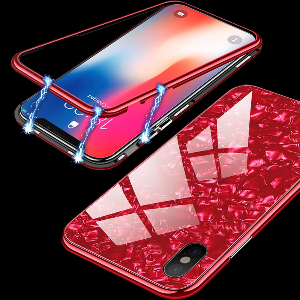 Bakeey Magnetic Adsorption Aluminum Glass Protector Caso con vidrio templado para iPhone X