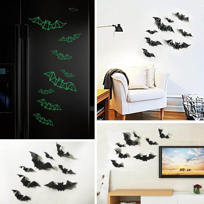 Luminous Three Dimensional Plastic Bat Wall Sticker Bar Haunted House Decoration Cod