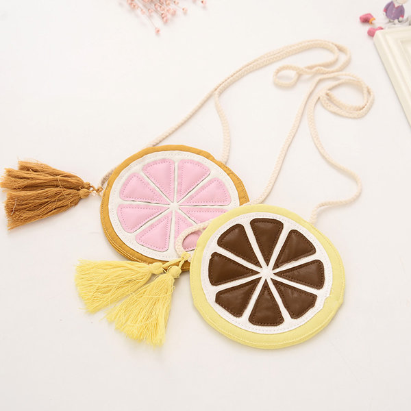 Fashion Fruit Crossbody Bags Girls Cotton Bags Kids Lovely Lemon Slices Coin Purse Bag