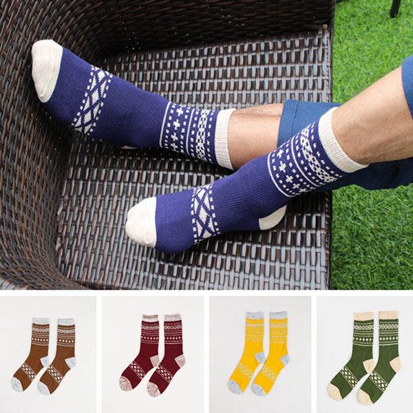 Estilo étnico para hombre Desodorización tubo medio de algodón calcetines Informal cálido elástico calcetines