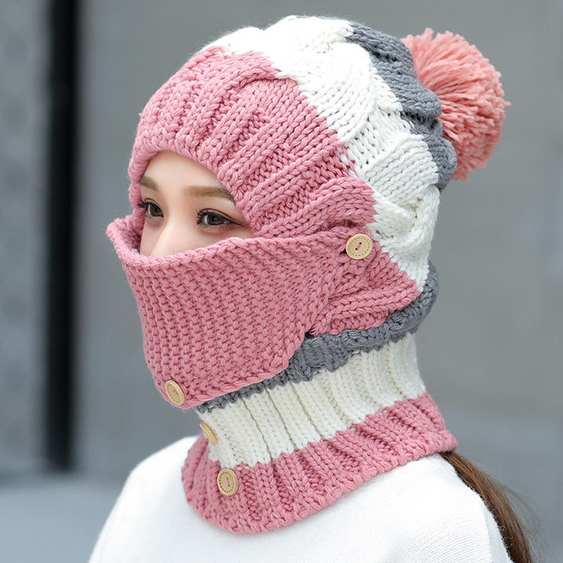 ac30dac273078 Women Winter Windproof Warm Plus Velvet Knit Hat Scarf Set with Face Mask  Thicken Ski Earmuffs Cap - Red COD