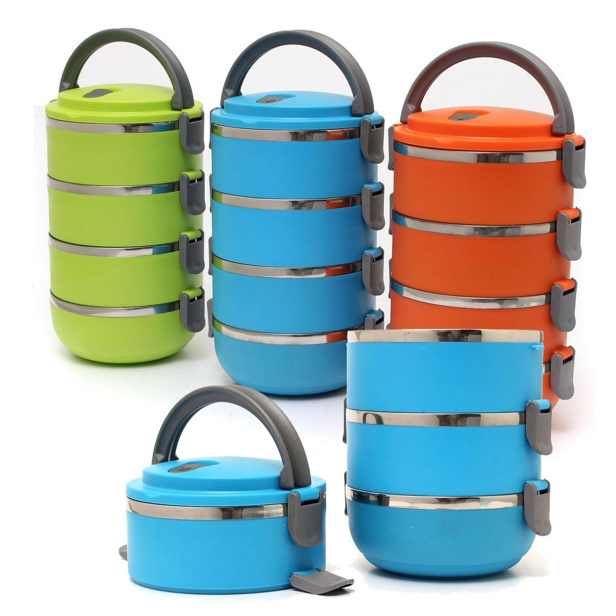 8a1ce68bd79 4 Layers Stainless Steel Portable Lunch Bento Box Thermal Insulated Lunch  Box for Food Container - Orange COD